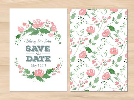 Sparen de datum trouwkaart met waterverf bloemen en typografische elementen.