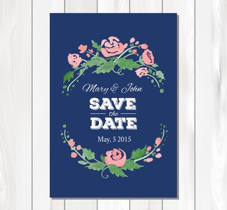 wedding table decor: Save the date wedding invitation with watercolor flowers and typographic elements.