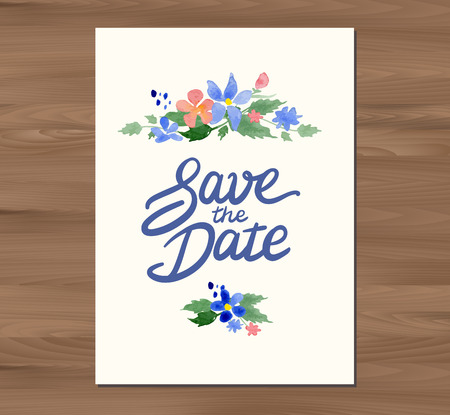 wedding table decor: Vector illustration - Save the date wedding invitation with watercolor flowers and hand drawn lettering.