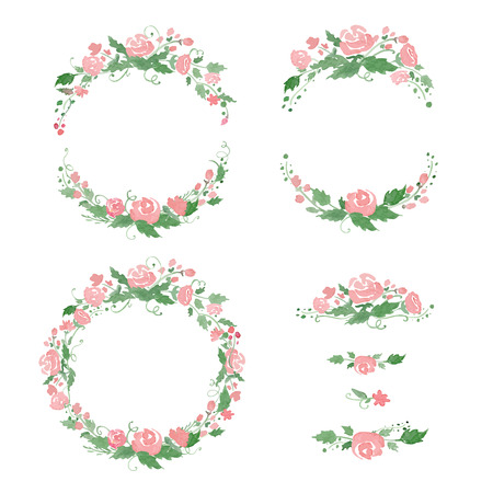 Watercolor floral frames, wreath, dividers.