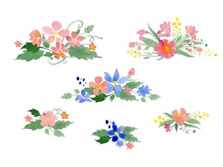 bordure de page: Vecteur aquarelle bouquets de fleurs. Idéal pour les mariages et les anniversaires des invitations, cartes mères de jour, décoration de page. Illustration