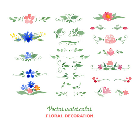 flower borders: Vector watercolor floral elements. Flowers, leaves, bouquets. Great for wedding invitations, Mothers day cards, page decoration.