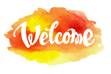 Welcome hand drawn lettering against watercolor background. EPS 8 vector 일러스트