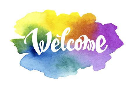 the welcome: Mano letras dibujado Bienvenido contra fondo de la acuarela