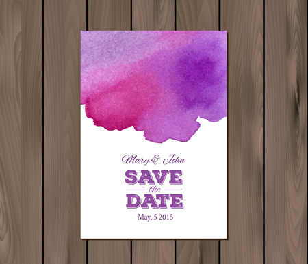 wedding invitation card: EPS 10 vector - Save the date wedding invitation with watercolor stain and typographic elements. Card template on a wooden background. Free fonts used -Nexa Rust, Alex Brush, Crimson Illustration