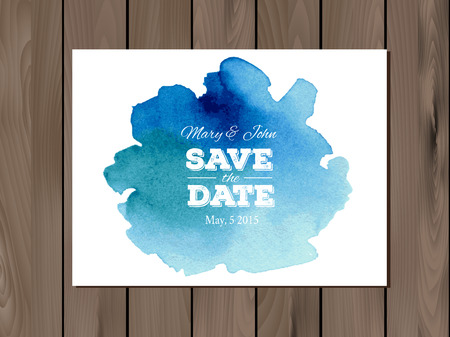 ombre: EPS 10 vector - Save the date wedding invitation with watercolor stain and typographic elements. Card template on a wooden background. Free fonts used -Nexa Rust, Alex Brush, Crimson Illustration