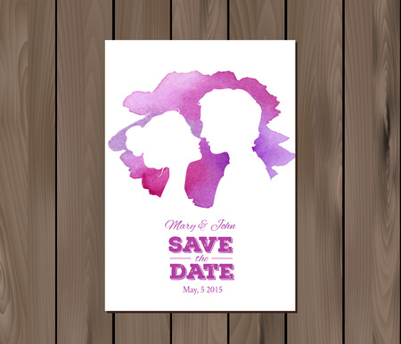 silhouttes: Save the date wedding invitation with watercolor elements and profile silhouttes of man and woman. Card template on a wooden background.  vector. Free fonts used - Nexa Rust, Alex Brush, Crimson Illustration