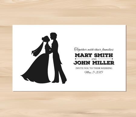 婚禮: 婚禮邀請新郎和新娘的輪廓剪影。在一個木製的背景卡片模板。 EPS 8向量。使用-Nexa銹,亞歷克斯刷,深紅免費字體 向量圖像