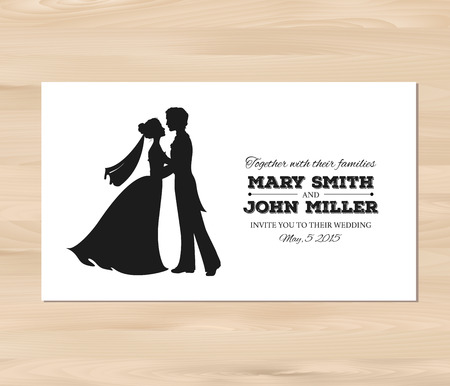 a wedding: Wedding invitation with profile silhouettes of bride and groom. Card template on a wooden background. EPS 8 vector. Free fonts used -Nexa Rust, Alex Brush, Crimson