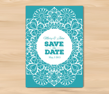 wedding table decor: Wedding invitation. Save the date card template on a wooden background. Vintage lace design. EPS 10 vector. Free fonts used - Nexa Rust, Alex Brush, Crimson