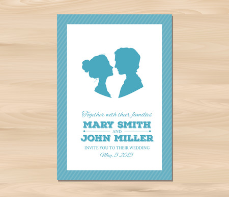Wedding invitation with profile silhouettes of man and woman. Card template on a wooden background. EPS 8 vector. Free fonts used - Nexa Rust, Alex Brush, Crimson Vettoriali