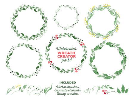 벡터 수채화 화환 및 사용자 정의 화환 제작을위한 별도의 꽃 요소입니다. 즉시 사용 가능한 일러스트 레이터 브러쉬가 포함되어 있습니다. 결혼식 초