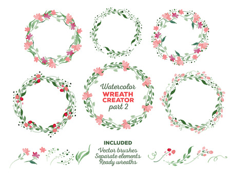 Vector watercolor wreaths and separate floral elements for custom wreaths creation. Ready-to-use illustrator brushes included. Great for wedding invitations, Mothers day cards, page decoration.