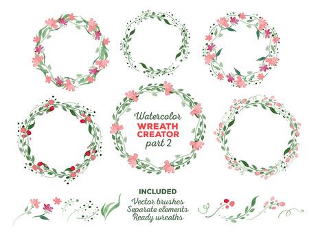 Vector aquarel kransen en aparte bloemen elementen voor aangepaste kransen schepping. Ready-to-use illustrator borstels inbegrepen. Groot voor huwelijksuitnodigingen, moeders dag kaarten, pagina decoratie.