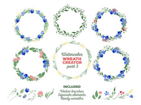 Vector acquerello corone ed elementi floreali separati per la creazione di corone personalizzati. Pennelli pronti per l'uso illustratore inclusi. Grande per gli inviti di nozze, Madri carte giorno, decorazione della pagina.