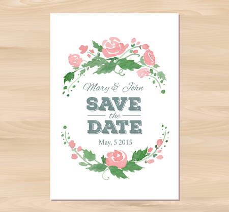 wedding table decor: Vector illustration - Save the date wedding invitation with watercolor flowers and typographic elements. Card template on a wooden background. Free fonts used -Nexa Rust, Alex Brush, Crimson