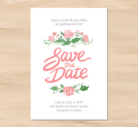 wedding table decor: Vector illustration - Save the date wedding invitation with watercolor flowers and hand drawn lettering. Card template on a wooden background. Free font used - Afta sans.