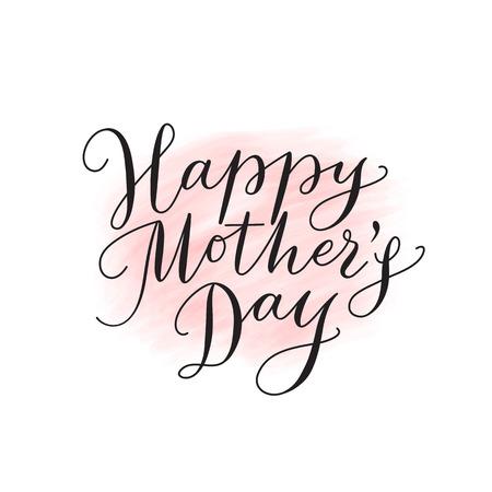 Gelukkige moeders dagkaart met hand getekende tekst. Lettering, kalligrafie voor uw ontwerp