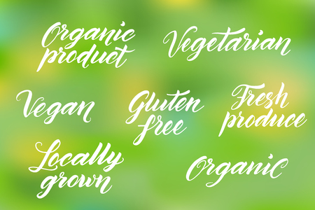produce product: Hand drawn healthy food brush letterings. Organic, organic product, gluten free, vegan, locally grown, vegetarian, fresh produce.