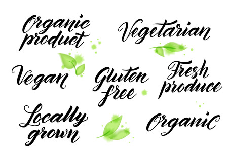 free hand: Hand drawn healthy food brush letterings. Organic, organic product, gluten free, vegan, locally grown, vegetarian, fresh produce.