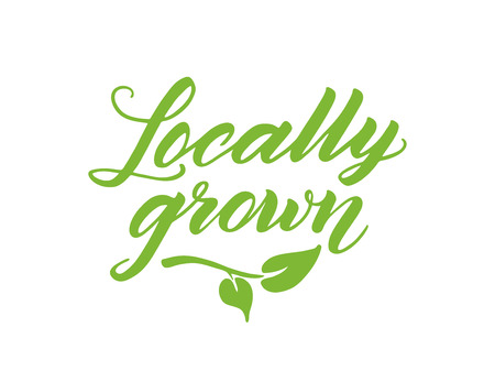 locally: Locally grown hand drawn brush lettering.