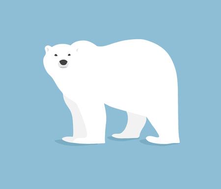 Main illustration tirée de l'ours polaire. Marcher ou debout ours polaire, vue de côté. le style plat