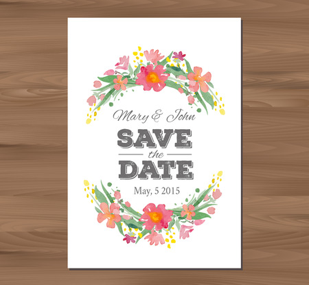 wedding table decor: Save the date wedding invitation with watercolor flowers and typographic elements. Card template on a wooden background. Free fonts used - Nexa Rust, Alex Brush, Crimson