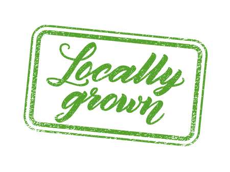 locally: Locally grown stamp with hand drawn lettering isolated on white. Layered vector illustration, can be placed on any background you like. Label, badge template.