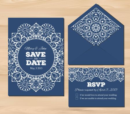 envelopes: Wedding set with lace elements. Save the date invitation, RSVP card, envelope template on a wooden background. Illustration