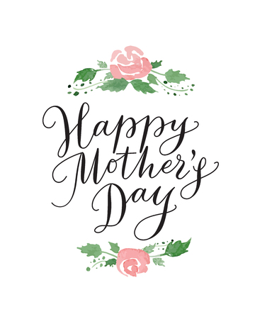 mother's day: Happy mothers day card with hand drawn text and flowers. Lettering, calligraphy for your design