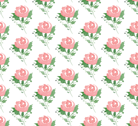 red rose bouquet: Vector illustration - Seamless pattern with watercolor flowers. Illustration