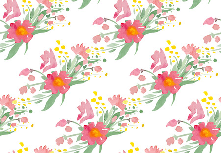 red rose bouquet: Seamless pattern with watercolor flowers.