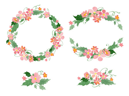 page decoration: Floral watercolor wreaths, frames, bouquets. Great for wedding invitations, mothers day and birthday cards, page decoration.