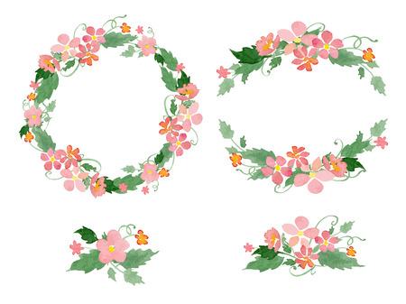 corone di fiori acquerello, cornici, bouquet. Grande per gli inviti di nozze, madri giorno e biglietti d'auguri, decorazione della pagina.