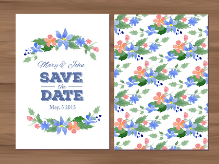 wedding table decor: Save the date wedding invitation with watercolor flowers and typographic elements. Card template on a wooden background.