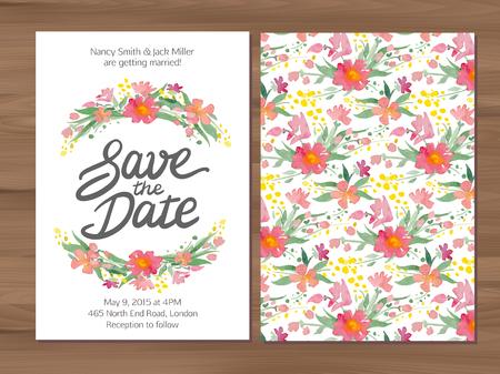 Salva l'invito di nozze di data con fiori di acquerello e lettere disegnate a mano. Modello di carta su uno sfondo di legno.