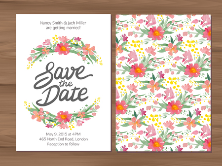Save the date wedding invitation with watercolor flowers and hand drawn lettering. Card template on a wooden background.