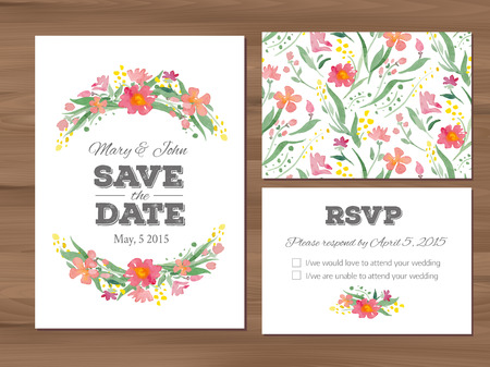 Wedding set with watercolor flowers and typographic elements. Save the date invitation, RSVP card, seamless floral background.