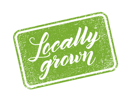 grown: Locally grown stamp with hand drawn lettering isolated on white. Layered vector illustration, can be placed on any background you like. Label, badge template.