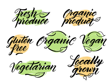 produce product: Hand drawn healthy food brush letterings. Organic, organic product, gluten free, vegan, locally grown, vegetarian, fresh produce. Label, logo template isolated on white background.