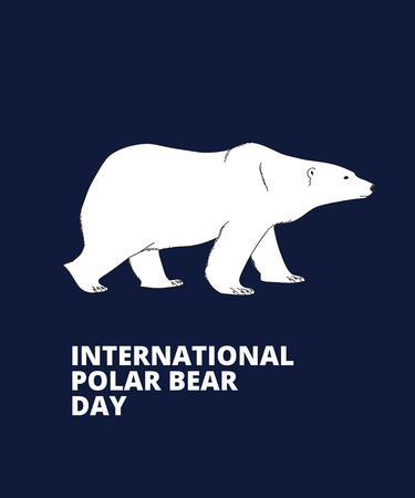 side view: International Polar Bear Day poster. Polar bear side view, hand drawn illustration.