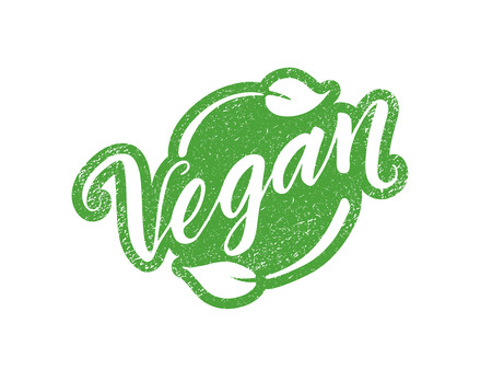 vegan food: Vegan stamp with hand drawn lettering isolated on white. Layered vector illustration, can be placed on any background you like. Label, badge template