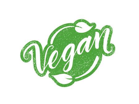 Vegan stempel met hand getrokken belettering geïsoleerd op wit. Gelaagde vectorillustratie, kan op elke gewenste achtergrond worden geplaatst. Label, badge sjabloon Vector Illustratie