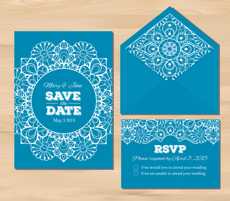 wedding table decor: Wedding set with lace elements. Save the date invitation, RSVP card, envelope template on a wooden background. Seamless illustrator swatch for background included. Free fonts used - Nexa Rust, Alex Brush, Crimson Illustration