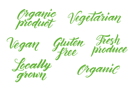 fresh produce: Hand drawn healthy food brush letterings. Organic, organic product, gluten free, vegan, locally grown, vegetarian, fresh produce. Label, logo template isolated on white background.