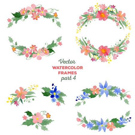 Floral watercolor wreaths, frames, bouquets. Great for wedding invitations, mothers day and birthday cards, page decoration.