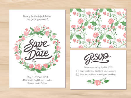 wedding table decor: Wedding set with watercolor flowers and hand drawn lettering. Save the date invitation, RSVP card, seamless floral background. Seamless illustrator swatch for background included. Free font used - Afta sans. Illustration