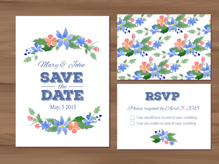 wedding table decor: Wedding set with watercolor flowers and typographic elements. Save the date invitation, RSVP card, seamless floral background. Seamless illustrator swatch for background included. Free fonts used - Nexa Rust, Alex Brush, Crimson