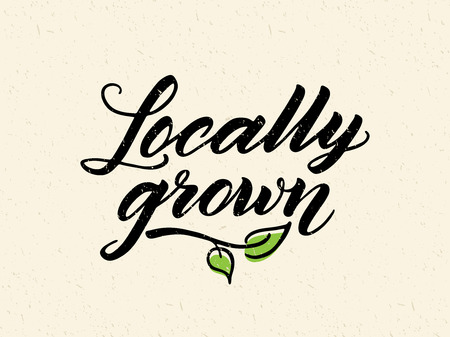 grown: Locally grown hand drawn brush lettering against recycled paper background. Logo, badge template for healthy food markets and stores. Texture elements can be easily removed.