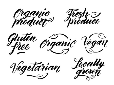 free hand: Hand drawn healthy food brush letterings. Organic, organic product, gluten free, vegan, locally grown, vegetarian, fresh produce. Label, logo template isolated on white background.